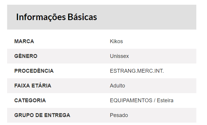 info basicas min Esteira Elétrica Kikos WK Power Gold
